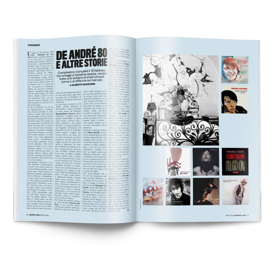 De Andrè 80 e altre storie musica Jazz aprile