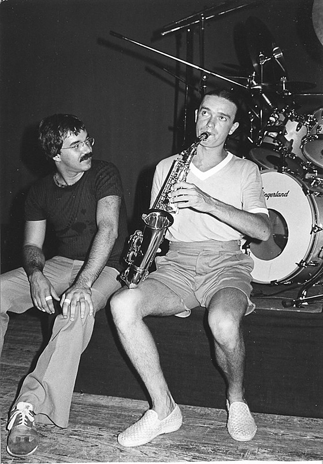 Peter Erskine con Jaco Pastorius - foto Don Hunstein